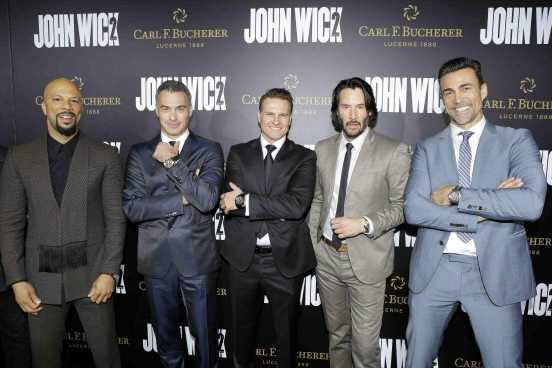 HOLLYWOOD, CA - JANUARY 30: Actor Common, director Chad Stahelski, Carl F. Bucherer CEO Sascha Moeri, actor Keanu Reeves and actor Daniel Bernhardt attend the premiere of 'John Wick: Chapter 2' sponsored by Carl F. Bucherer at ArcLight Hollywood on January 30, 2017 in Hollywood, California. (Photo by Tiffany Rose/Getty Images for Carl F. Bucherer ) *** Local Caption *** Common; Daniel Bernhardt; Chad Stahelski; Sacha Moeri; Keanu Reeves